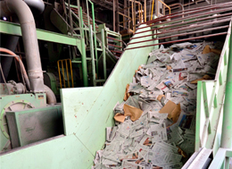 Recycle line of used papers at Hiratsuka plant